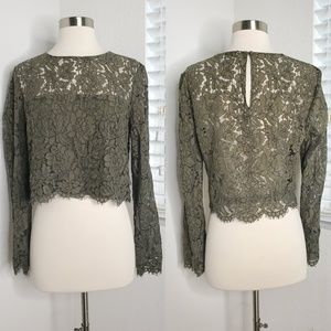 •DVF• Yeva Long Sleeve Lace Top In Olive Sz 10.